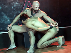 Youthful cuffed slave rails a boner for a facial